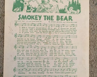 Smokey the Bear Song sheet and Conservation Plege