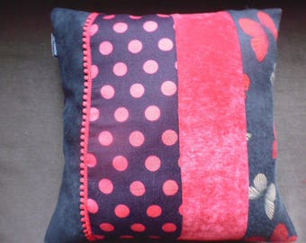 Black and red square cushion