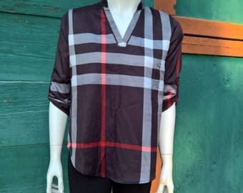 Vintage Stylized Plaid Lightweight Blouse