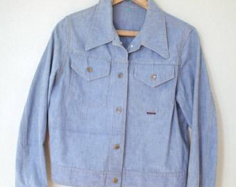 vintage 1970s cropped  denim jean jacket *