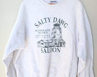 vintage salty dawg homer spit alaska heather gray sweatshirt