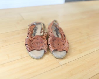 vintage woven TAN leather wedge granny hurache sandals womens 6