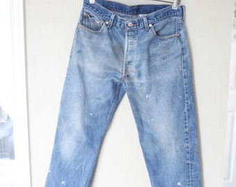 vintage distressed  levis 501  cropped jeans denim 34