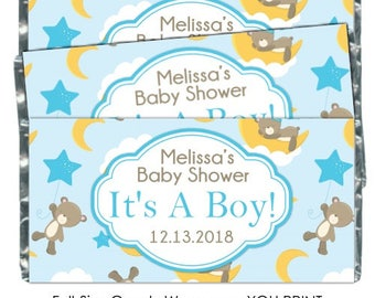 PRINTABLE Baby Shower Candy Wrappers - Baby Bears, Stars and Moon, Chocolate Bar Candy Wrappers -  new baby, baby shower