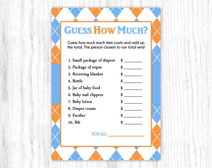 Guess How Much Baby Shower game, Printable Party Games, Baby Shower Games - Blue and Orange Argyle, 5x7 size