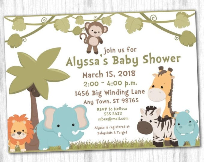 Jungle Safari Baby Shower Invite, Safari Invitation, Digital Design - CUSTOM for You - 4x6 or 5x7 size - YOU print