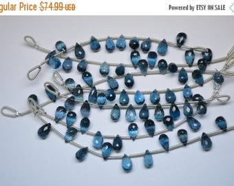 40%DIS 9mm-10 Beads Natural London Blue Topaz MicroFaceted Teardrops Shape Briolette Beads