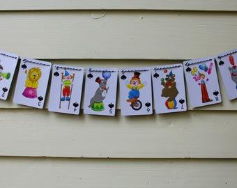 Vintage Circus Animal Card Bunting (Spades)