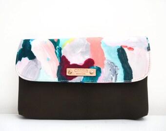 NEW - premium canvas and leather clutch/ women's clutch/ clutch/ designer clutch/ wallet - kiara - mini
