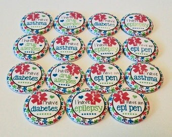 Pretty Floral Medical Alerts  Set of 15 1 inch Flat Back Buttons Embellishments Buttons Flair