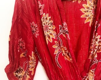 1970s lurex deep V batik mini dress