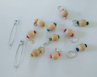 Stitch Markers - 1 set for crochet - 1 set for knitting - beaded Stitch Markers - progress keepers - 2 sets