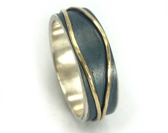 Men's wedding ring, men's wedding band, oxidized sterling silver band with two yellow gold stripes soldered on top, dramatic ring, ilanamir