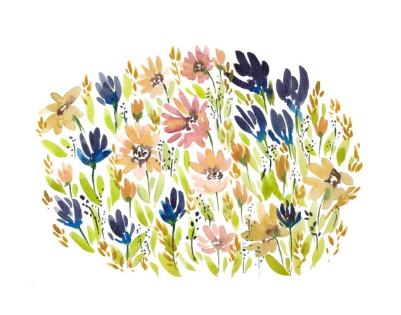 Original 11x14 Medow Watercolor Painting