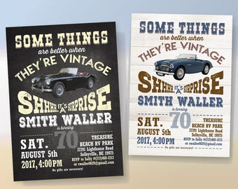 Vintage Car Birthday Party Printable Invitation, Austin Healey Anniversary Celebration, Digital Invitation