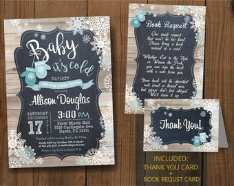 Baby it's Cold Outside. Baby Shower Digital Printable Invitaion set. Baby Mittens / DIY CARD