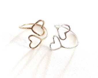 14k gold filled or Sterling silver Double Heart Ring Toe ring