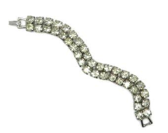Weiss Rhinestone Bracelet, Vintage Double Row Rhinestone Silver Tone Bridal Jewelry Signed Weiss