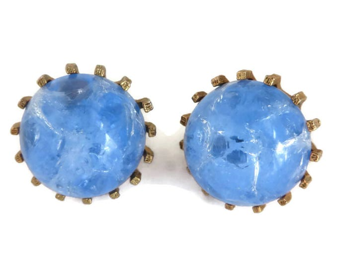"""Vintage Blue Button Earrings, Marbled Lucite Clip-ons, Signed """"STAR"""" Gold Tone Earrings"""