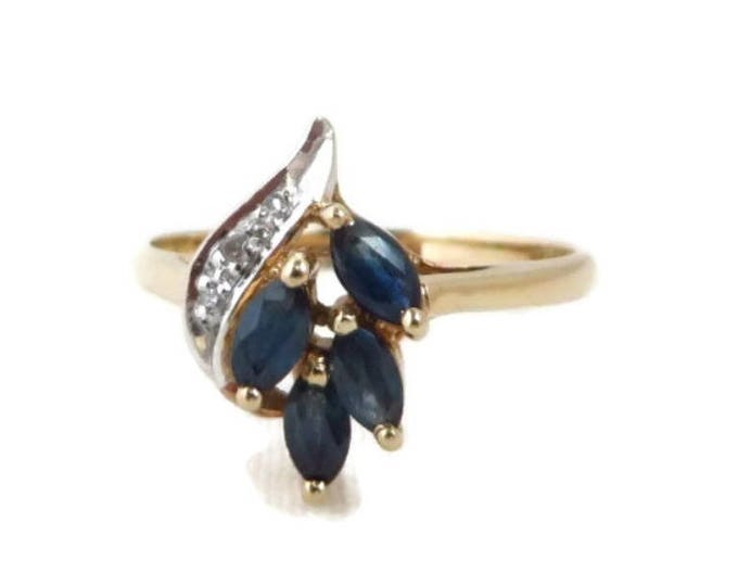 10K Gold Sapphire Ring, Vintage Diamond and Sapphire Cocktail Ring, Anniversary Ring, Size 6