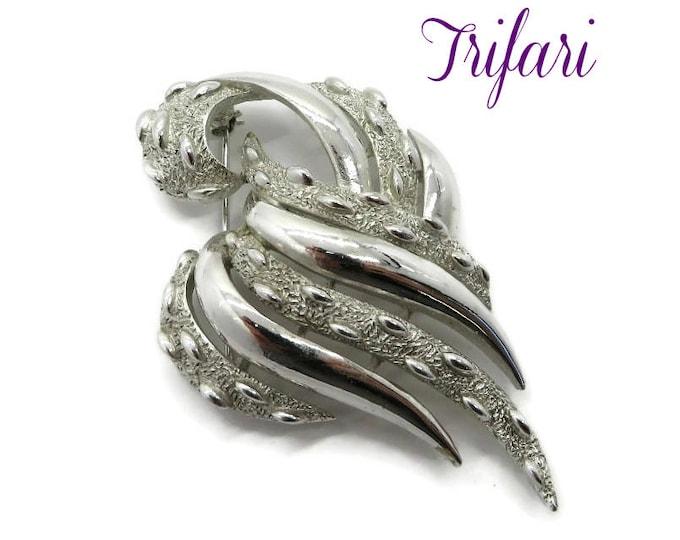 Trifari Brooch - Vintage Silver Tone Leaf Brooch, Textured Leaf Pin, Designer Signed, Matte & Shiny Brooch, Gift Idea, Gift Boxed