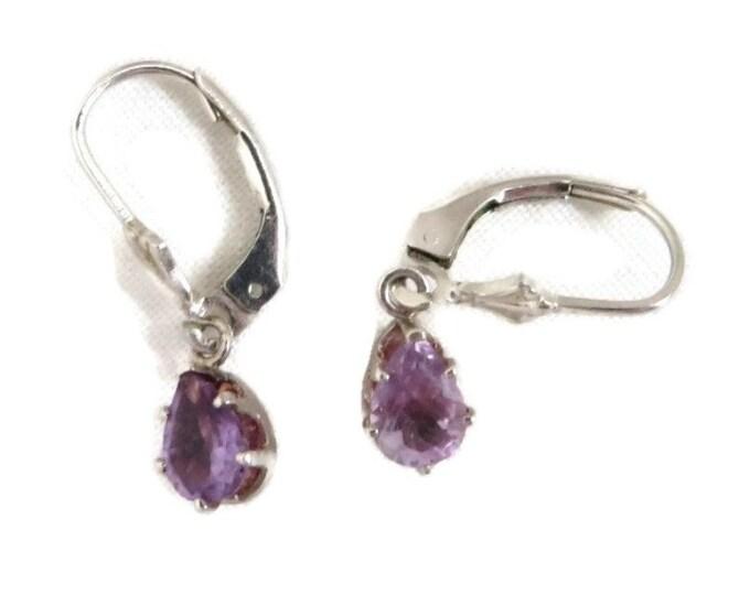 Sterling Silver Faux Amethyst Earrings, Vintage Pierced Leverback Dangling Earrings
