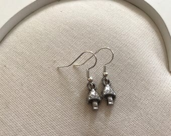 Tiny mushroom toadstool silver coloured earrings end of line