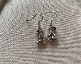 Easter bunny rabbit and easter egg silver coloured earrings end of line