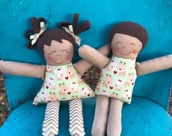 Reindeer Hearts & Stripes Doll, Baby's First Doll, Washable Soft Doll, Handmade Twins Rag Doll, Toddler Christmas Gift, Baby Shower