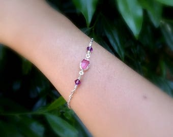 Bracelet gift Girlfriend pink bracelet Pink Swarovski bracelet Thin chain bracelet Sisters pink jewelry gift Summer crystal bracelet for her