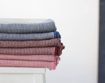 Set of Large Rose Linen Waffle Bath & Hand Towels / Washed Linen Bath Sheet / Soft Waffle Bathroom Towels