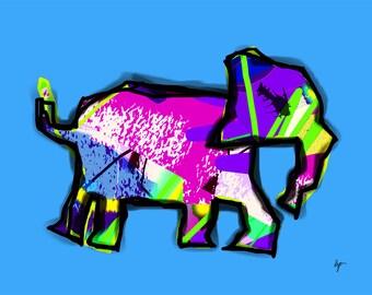 jazzy elephant (glicee print)
