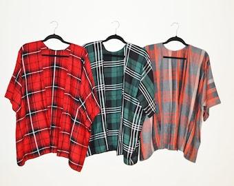 Plaid Kimono / Kimono Cardigan / Kimono Jacket / Lightweight Wrap / Casual Kimono / Plaid Cardigan / Fall Cardigan / Gift for her