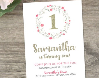 Pink and Gold First Birthday Invitation  |  Floral First Birthday Invitation  |  1st Birthday Girl
