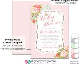 Girl Baby Shower Invitation | Butterfly Baby Girl Shower Invite | Pink Rose Gold Invite | Floral Baby Shower Invite | Printable Invitation