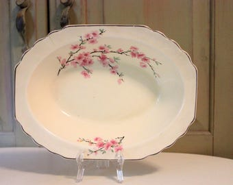 Vintage WS George Lido Canarytone China Oval Serving Bowl Made USA 155A Cherry Blossom Cream White Asian Floral Pattern Cottage Home Decor
