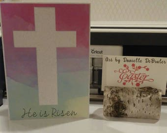 He is Risen Watercolor Cross Card