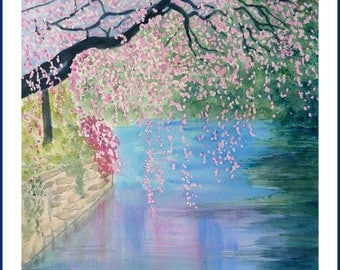 Watercolor - Cherry blossoms over water