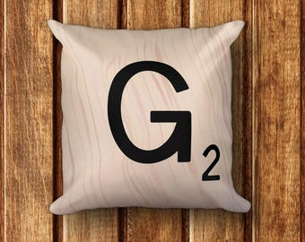 """Scrabble Letter Cushion - Square Pillow - Letter G - 18"""" x 18"""" Pillow - each letter with unique wood pattern - cover and insert included"""