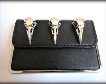 Bird skull business cards holder-Black PU leather credit card holder-skull card holder- steampunk card holder-gothic card holder