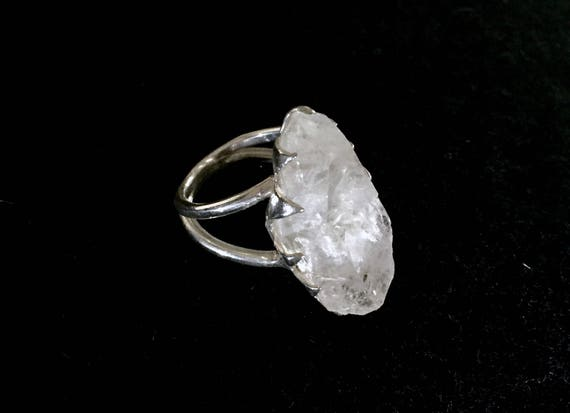 Solid Sterling Silver Rough Raw Clear Quartz Ring Huge Gemstone Beautifully Flash Double Banded