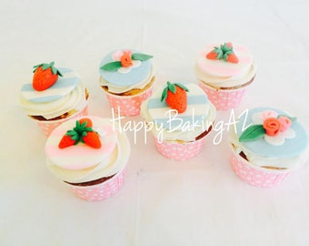Fondant Strawberries & Flowers Cupcake Toppers