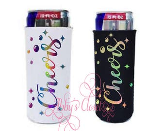 Custom Sparkly Cheers Slim Can Cooler