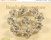 SALE 12 mm Crystal Clear Silver-Plated Brass 12 Facets Crystal Rhinestone Bead - Grade AAA - Nickel Free and Lead Free - 10 pcs