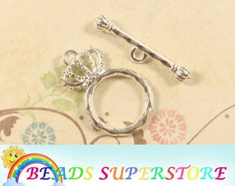 23 mm x 15 mm Silver-Plated Princess Crown Toggle Clasp - Nickel Free, Lead Free and Cadmium Free - 6 sets