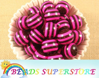 SALE 20 mm Magenta and Black Striped Bubblegum Round Bead - Gumball Bead - Acrylic Chunky Bead - 10 pcs (CHT22)