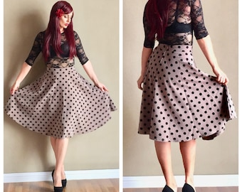 40% off Clearance SALE!  READY to SHIP!  Retro 40s 50s Vintage Inspired Pin Up Swing Skirt, Black Polka Dots, Neutral Beige Cafe Latte Taupe