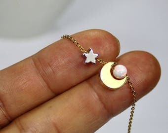 Opal Sun Necklace,I love you to the moon and back.Moon Star Jewelry,Opal Necklace,white opal Tiny Star Jewelry,Gift for kids. a little girl