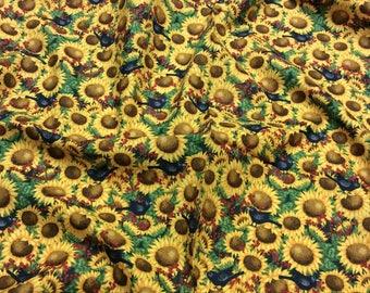 Time to Harvest Autumn Sunflower Blackbird 'Discounted' 22832 SPX Patchwork Quilting Dressmaking Fabric