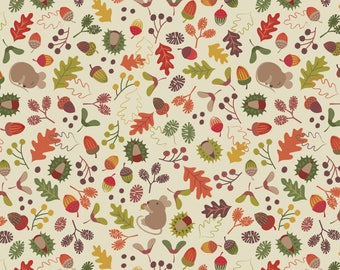 Autumn in Bluebell Wood A248-1 Woodland Mouse Cream Lewis & Irene Patchwork Quilting Fabric
